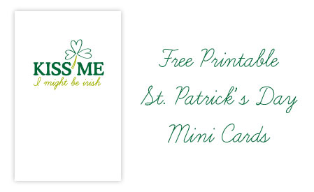 Printable Kiss Me Mini Cards