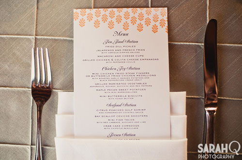 Coral and Grey Wedding Menu