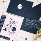 Pink Black + Gold Wedding Invitations