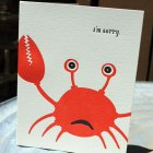 Letterpress Sorry Crab Card