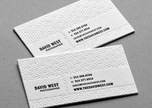 Blind Debossed Letterpress Biz Cards