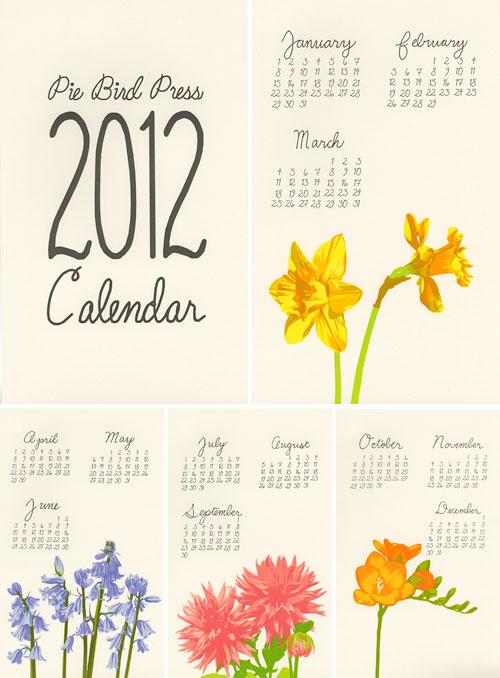 2012 Calendar Pie Bird Press