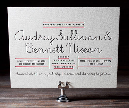 Bella Figura Gotham Letterpress Wedding Invitations