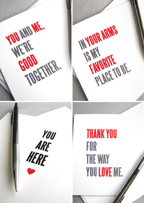 Typography Valentine's Day Cards