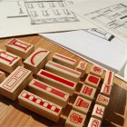 Paper Neighborhood Rubber Stamps