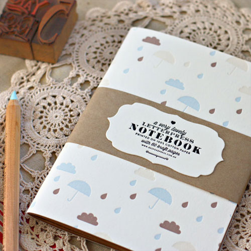 Bespoke Letterpress Patterned Notebook Clouds + Umbrellas