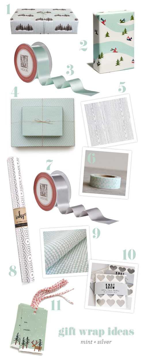 Gift Wrap Ideas : Mint + Silver