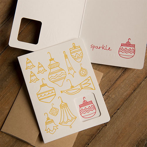 Holiday Ornaments Letterpress Card