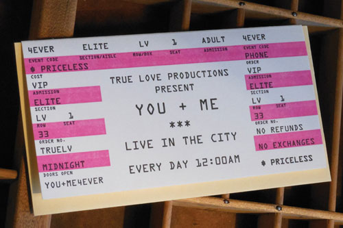 Concert Ticket Letterpress Valentine's Day Card