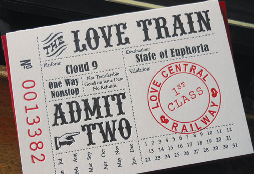 Love Train Ticket Letterpress Card