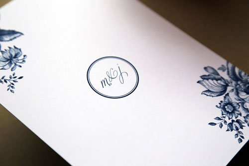 Classic Elegant Navy Blue + White Floral Wedding Invitations | Half His Half Hers