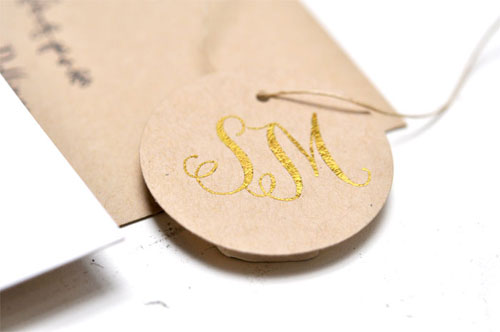 Sparrow Gold Foil Stamped Monogram Tag | Smitten on Paper