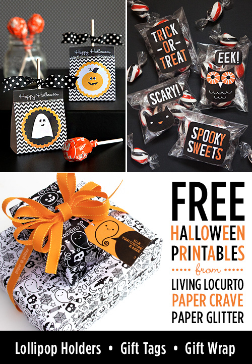 Free Halloween Printables from LivingLocurto.com, PaperGlitter.com, and PaperCrave.com