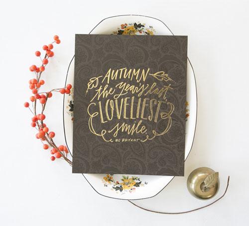 Autumn Foil Stamped Print   Lindsay Letters
