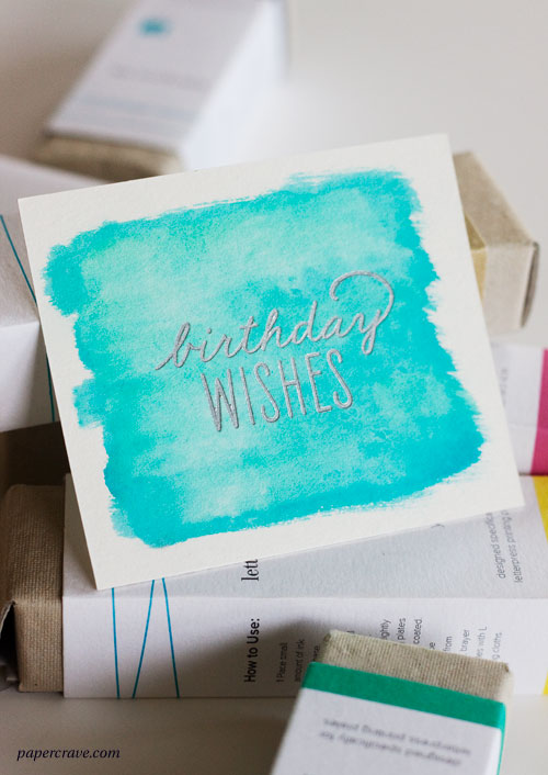 DIY Watercolor Letterpress Birthday Card