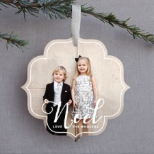 White Noel Holiday Ornament Photo Cards