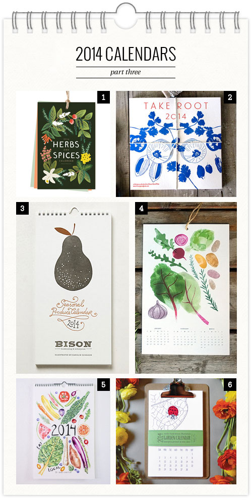 Garden + Produce Themed 2014 Calendars as seen on papercrave.com