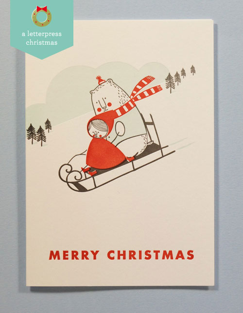 Little Lotte & Bear Christmas Letterpress Card | Imogen Owen