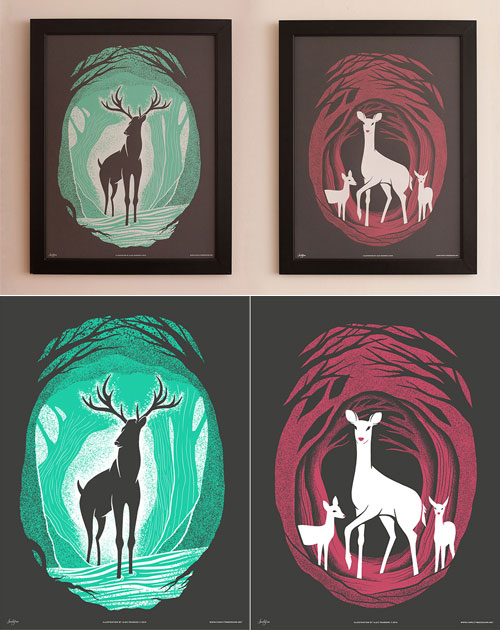"Deer of Mirkwood Screenprints (inspired by ""The Hobbit"") 