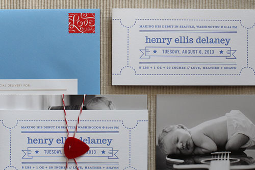 Custom Letterpress + Photo Birth Announcements | Maida Vale