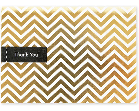 Chevron Gold Foil Stamped Thank You Card | Pei Design