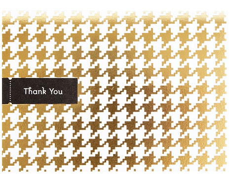 Houndstooth Gold Foil Stamped Thank You Card | Pei Design