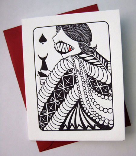 House Rules Queen of Spades Letterpress Card | Banshee Press
