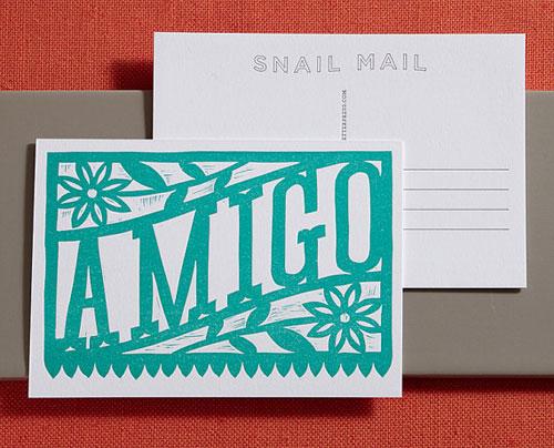 Amigo Linocut Letterpress Postcard   Lilco
