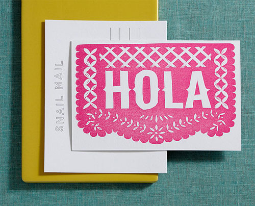 Hola Linocut Letterpress Postcard   Lilco