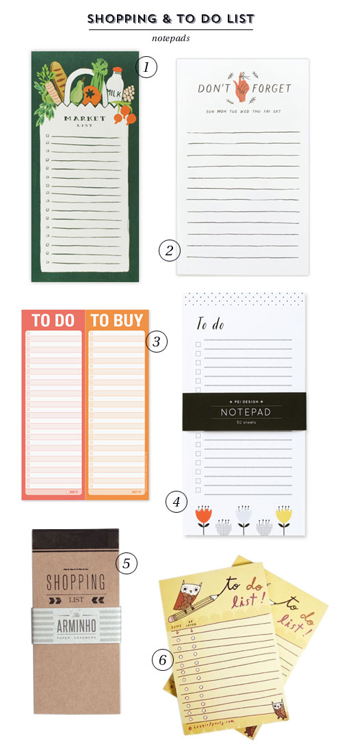 6 Snazzy Shopping & To Do List Notepads as seen on papercrave.com