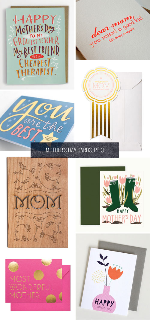 Hand Lettered and Typographic Mother's Day Cards as seen on papercrave.com