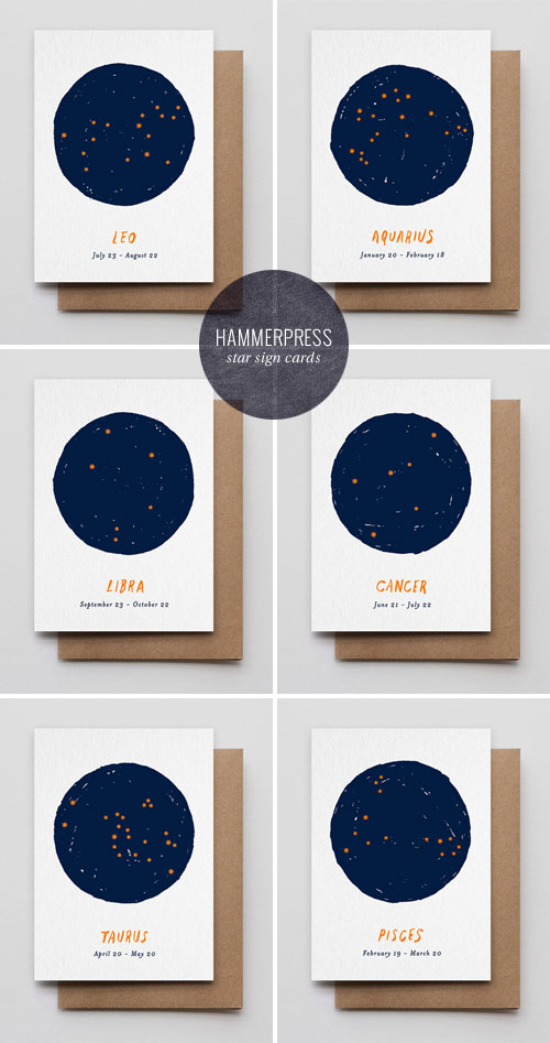 Star Sign Letterpress Cards | Hammerpress