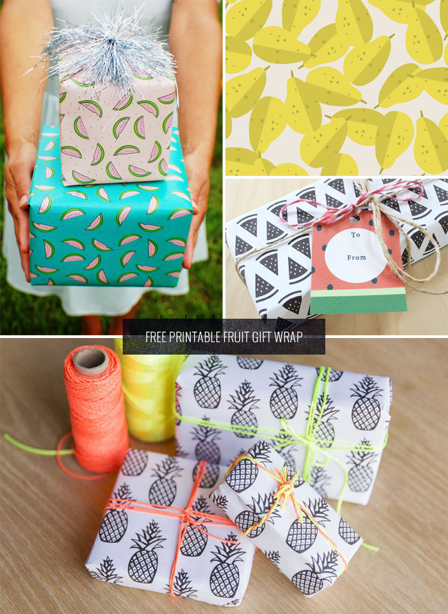 Free Printable Fruit Gift Wrap as seen on papercrave.com