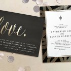 Modern, Gold Foil Pressed Wedding Invitations | Minted