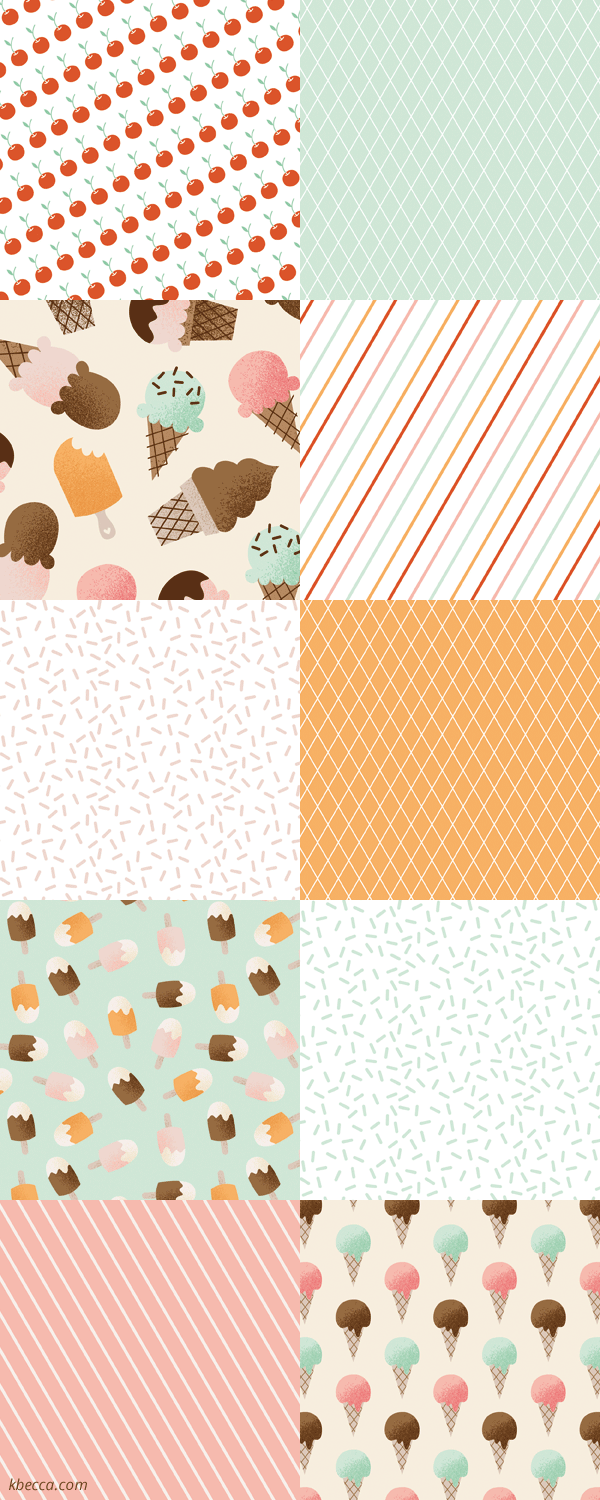 Ice Cream-Themed Digital Patterns | k.becca