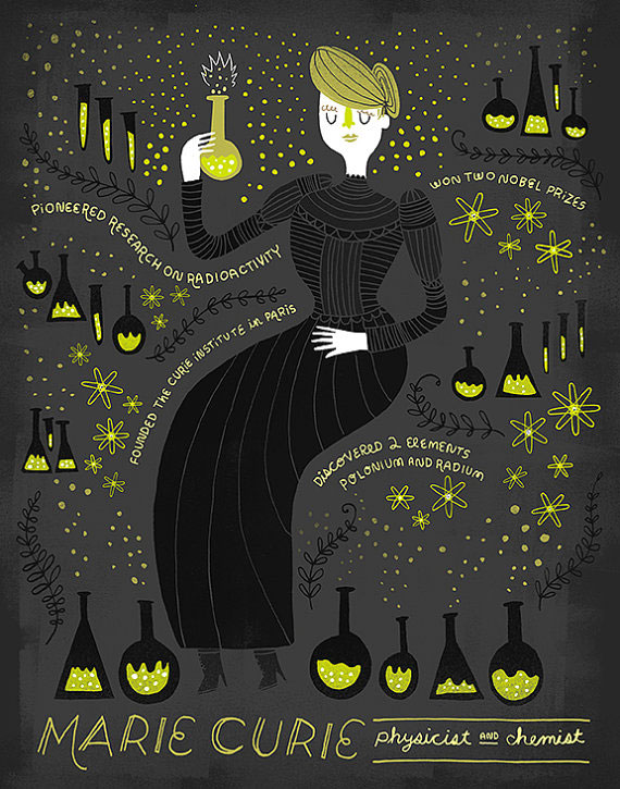 Women in Science : Marie Curie Illustrated Art Print | Rachel Ignotofsky