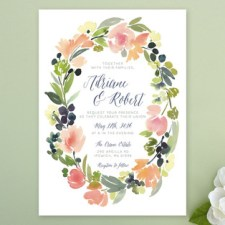 Watercolor Wreath Wedding Invitations by Yao Cheng