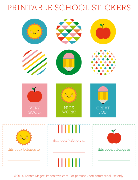 Free Printable Back to School Stickers + Bookplates | Paper Crave for Livinglocurto.com