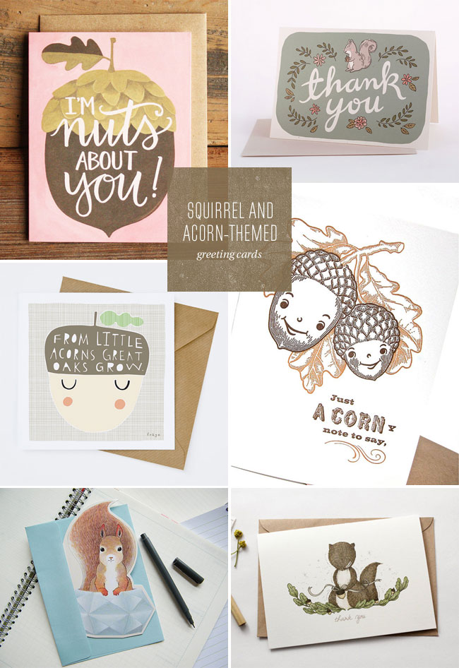 Six Squirrel & Acorn-Themed Greeting Cards as seen on papercrave.com