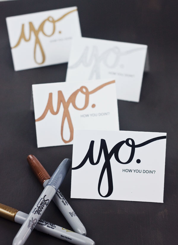 "Free Printable ""Yo"" Mini Cards 