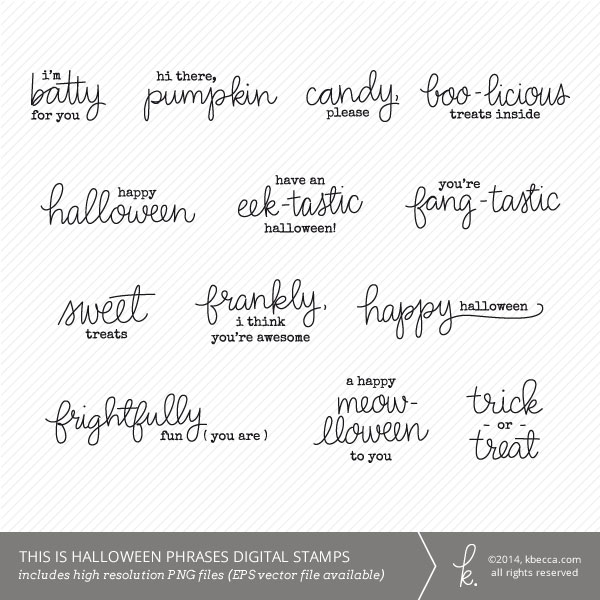 Hand Lettered Halloween Sentiments Clip Art at kbecca.com