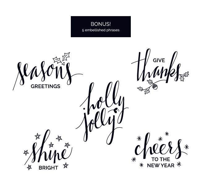 Embellished Holiday Phrase Overlays / Clip Art