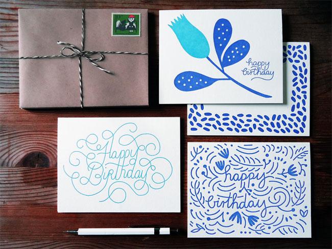 Cobalt Blue & Teal Hand Lettered Letterpress Birthday Cards | Karolin Schnoor