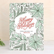 Poinsettia Pattern Business Holiday Cards