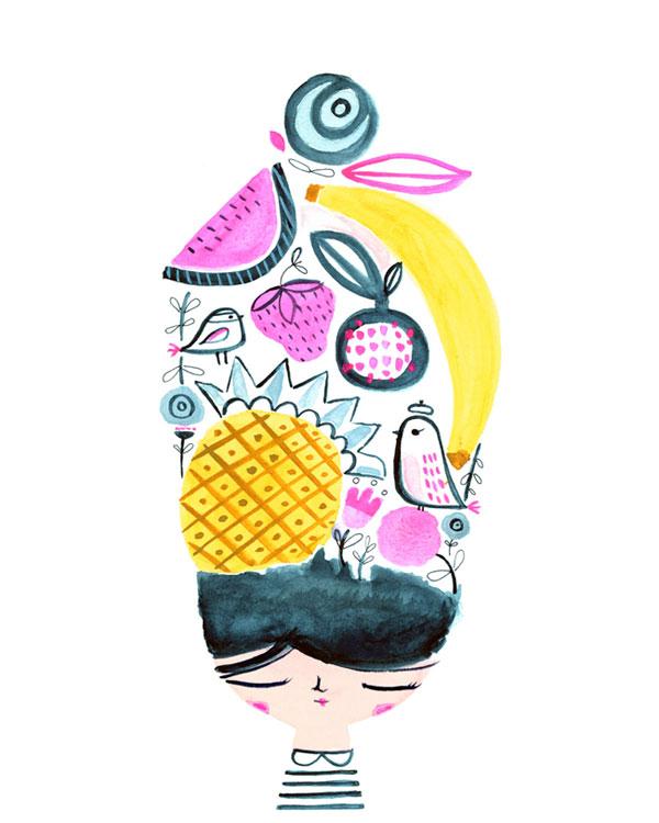 Morning Hair Watercolor Art Print | Suzy Ultman