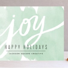 Watercolor Wash Joy Business Holiday Cards