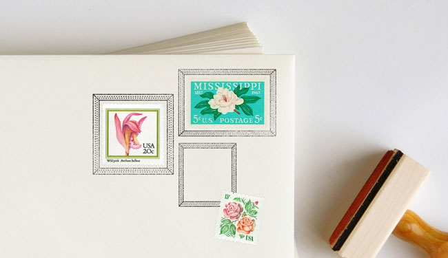Dotted Postage Frame Rubber Stamps   Anticipate