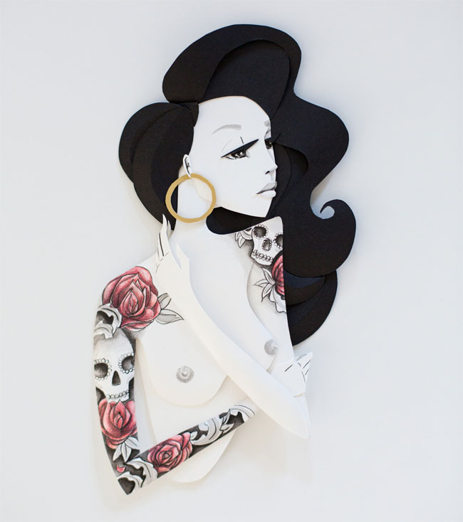 "Belinda Rodriguez Paper Sculpture : ""Inked"" Series"