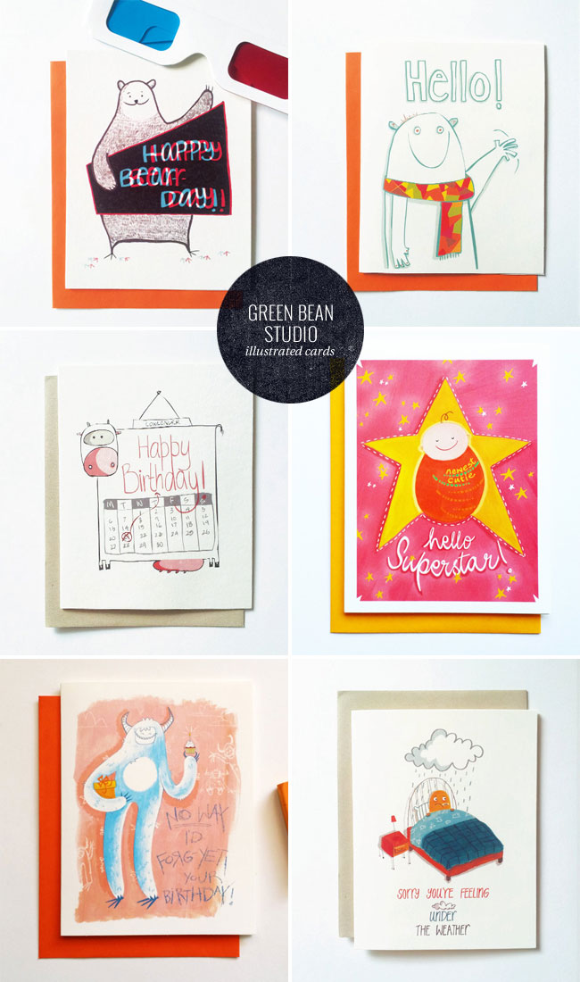 Quirky, Illustrated Greeting Cards by Green Bean Studio