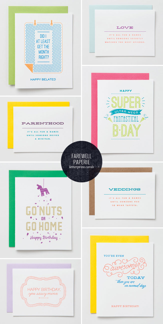 Farewell Paperie Letterpress Cards